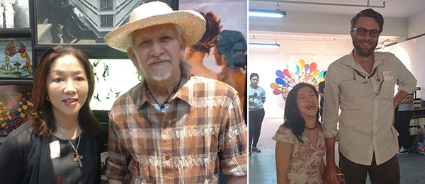Left: Mercedes L. Vargas, executive director at the Lopez Museum, and artist Nunelucio Alvarado. Right: Singapore Art Museum curator Joyce Toh and artist Kawayan de Guia.