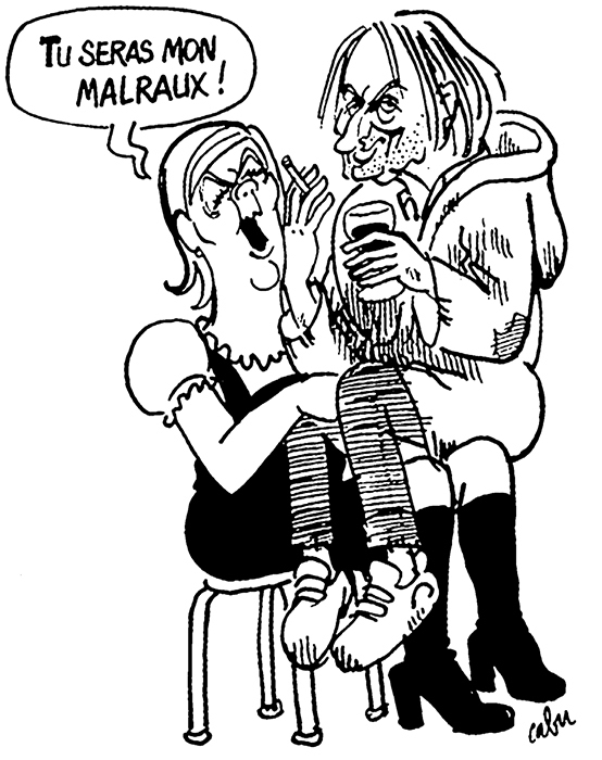Cartoon by Cabu depicting Marine Le Pen and Michel Houellebecq, as published in Charlie Hebdo, January 7, 2015.