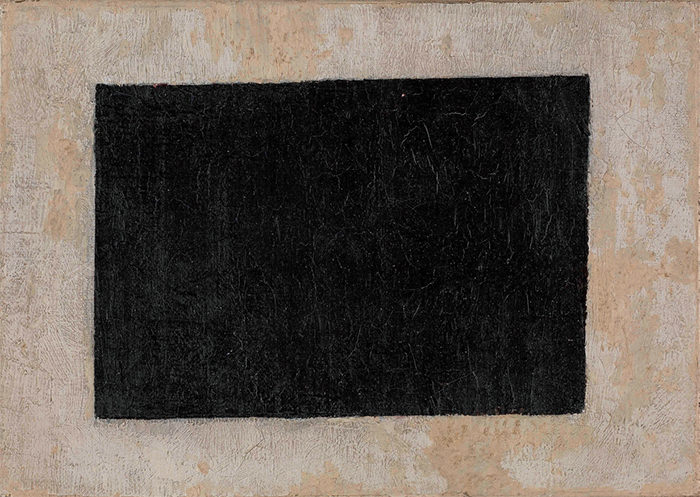 "Kazimir Malevich, Black Quadrilateral, n.d., oil on canvas, 6 3/4 × 9 1/2""."
