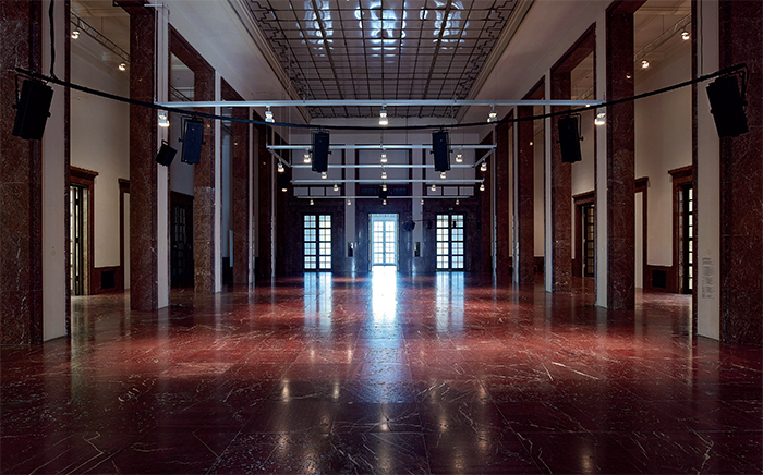 Anri Sala, The Present Moment, 2014, HD digital video (color, sound, 21 minutes 30 seconds), nineteen-channel sound installation. Installation view, Haus der Kunst, Munich. Photo: Jens Webber.