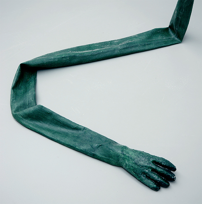 "Olga Balema, Long Arm (detail), 2013, latex, aluminum, 11' 5 3/4"" × 4' 11"" × 3' 3 3/8""."