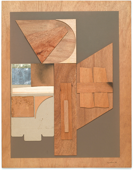 "Louise Nevelson, Untitled, 1956, cardboard, foil, paint, and wood on board, 46 × 36""."