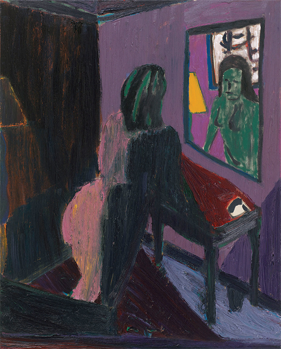"Tal R, Telephone & Mirror, 2014, oil on canvas, 38 1/4 × 30 3/4""."