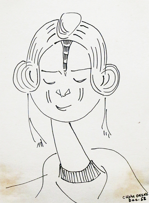 "Uche Okeke, Nok Suite – Bornu Woman, 1958, ink on paper, 7 1/2 × 5"". From ""Nok Suite,"" 1958–59."