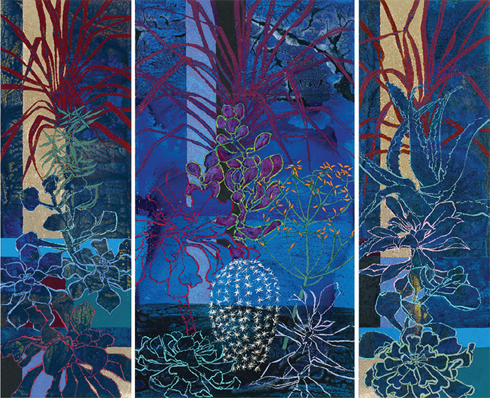 Robert Kushner, Midnight in the Huntington Library Cactus Garden, 2014, oil, acrylic, and gold leaf on canvas, 9 × 11'.
