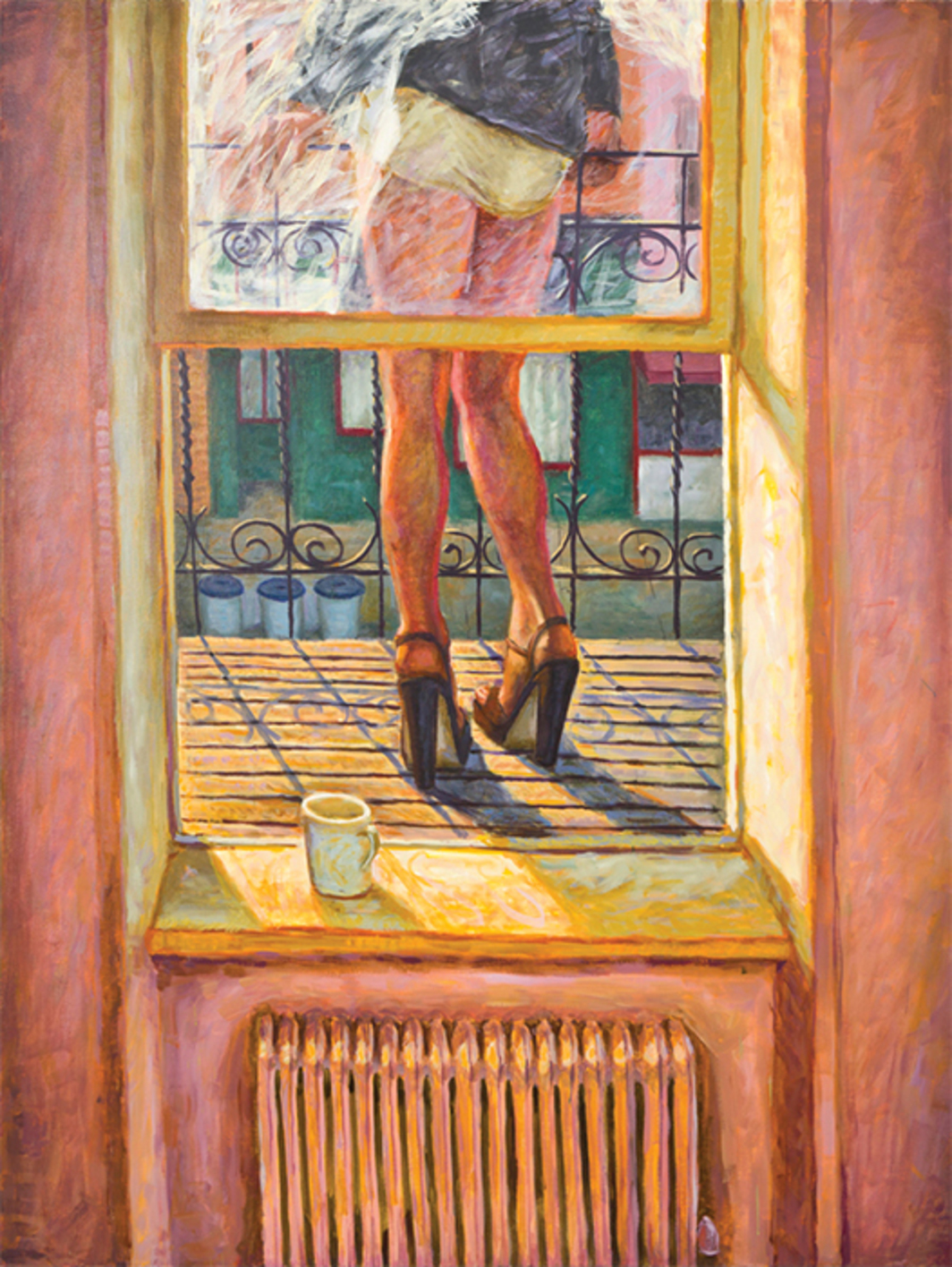 "Hugh Steers, Morning Terrace, 1992, oil on canvas, 72 × 54""."