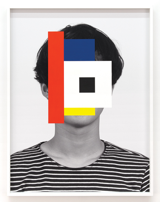 "Douglas Coupland, Gorgon High-Tech Japanese Trendy Emo Tomorrow Boy, 2014, acrylic on ink-jet print, 49 × 37"". From the series ""Deep Face,"" 2014."