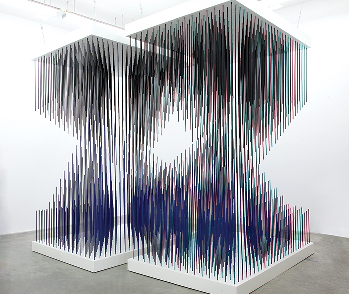 "Jesús Rafael Soto, Doble progresión azul y negra (Double Progression Blue and Black), 1975, paint, metal, 10' × 11' × 11' 3""."