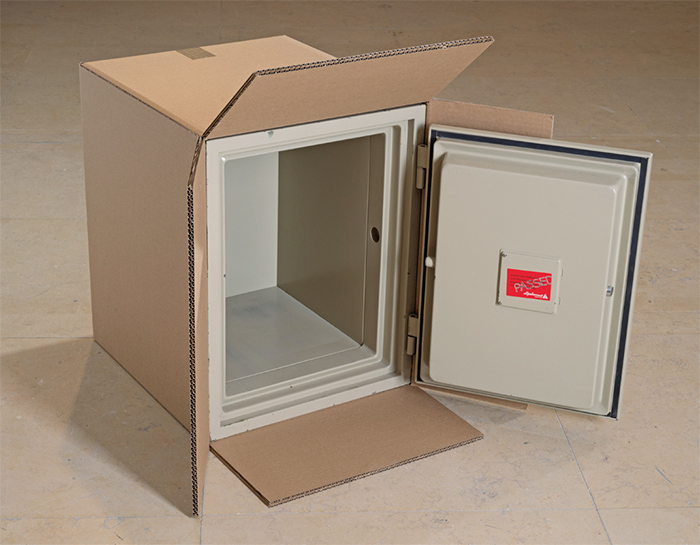 "Wilfredo Prieto, Safe Box, 2014, mixed media, 29 1/2 × 20 1/2 × 28 3/4""."