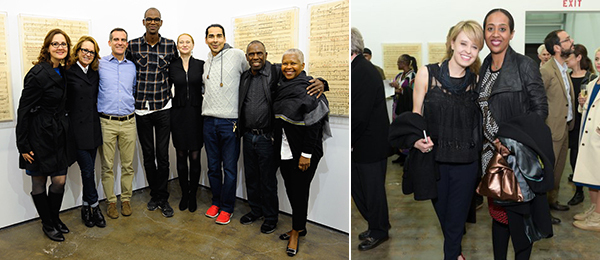 Left: Danielle Brazell, Hammer director Ann Philbin, Los Angeles Mayor Eric Garcetti, artist Mark Bradford, Amy Wakeland, A+P's Allan di Castro, artist Charles Gaines, and philanthropist Eileen Harris Norton. (Photo: Andreas Branch). Right: Art+Practice's Sophia Belsheim with curator Naima Keith. (Photo: Stephanie Keenan).