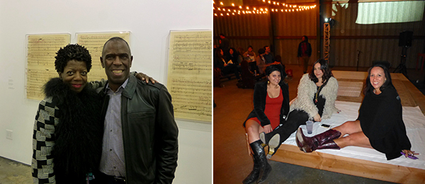 Left: Studio Museum director Thelma Golden with artist Charles Gaines. Right: LAND's Maryam Hosseinzadeh, Laura Hyatt, and Shamim Momin.
