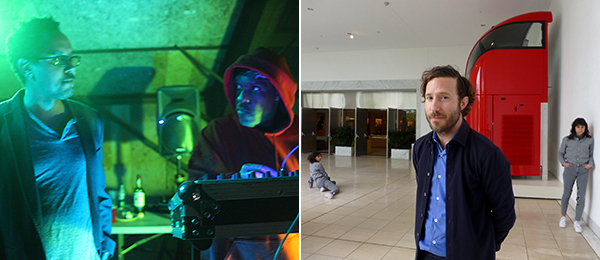Left: Artist Edgar Arceneaux with Underground Resistance's Ray 7. (Photo: André Daughtry). Right: Curator Aram Moshayedi with Maria Hassabi's performance at the Hammer.
