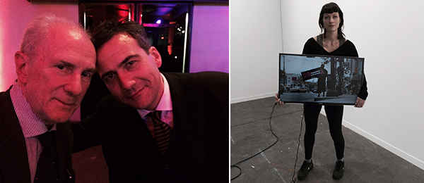 Left: Dealer Massimo Minini and Andrea Bellini, director of the Centre d'Art Contemporain Geneve. Right: One of the spinners in Ahmet Ogut's Fair Wage. (All photos: Agnieszka Gratza)