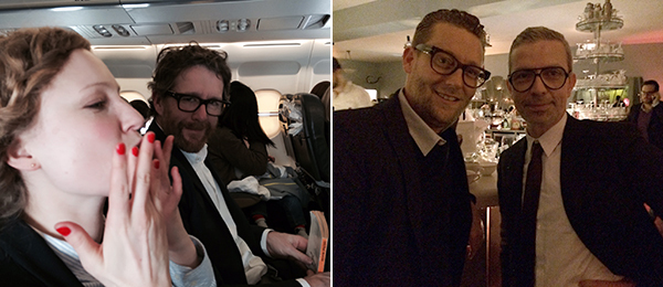 Left: Dealers Julia Dziumla and Bruce Haines of Ancient & Modern, London. Right: Watchmaker Manuel Emch and curator Nicolas Trembley.
