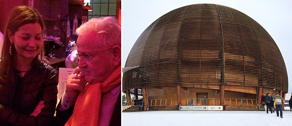Left: Artist Sylvie Fleury and President Pierre Keller. Right: Visitor center dome at CERN.