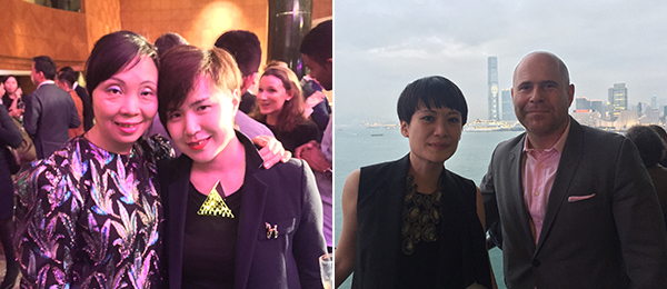 Left: Modern Media's Shaway Yeh and artist Cao Fei. Right: Art Basel Hong Kong director Adeline Ooi and Art Basel director Marc Spiegler. (Photos: Kevin McGarry)