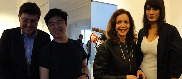Left: Para Site curator Cosmin Costinas and Asia Art Archive's Anthony Yung. Right: Dealer Rachel Lehmann (left). (Photos: Du Keke)