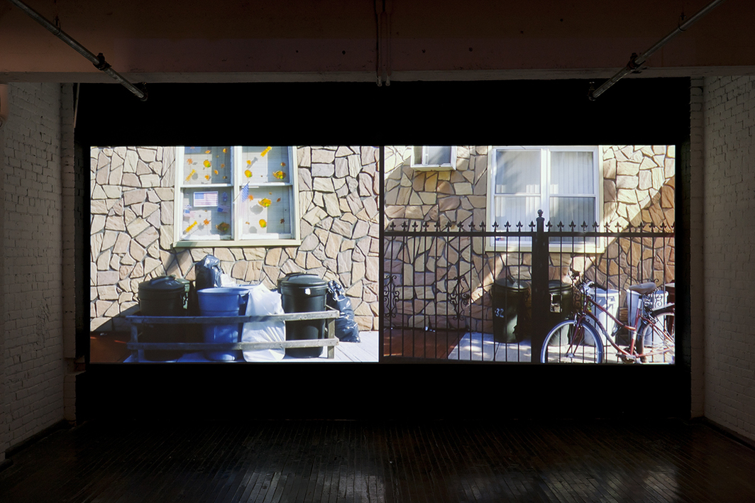 Elisabeth Subrin, Lost Tribes and Promised Lands, 2010, two-channel video projection transferred from 16 mm, color, sound, 10 minutes. Installation view.
