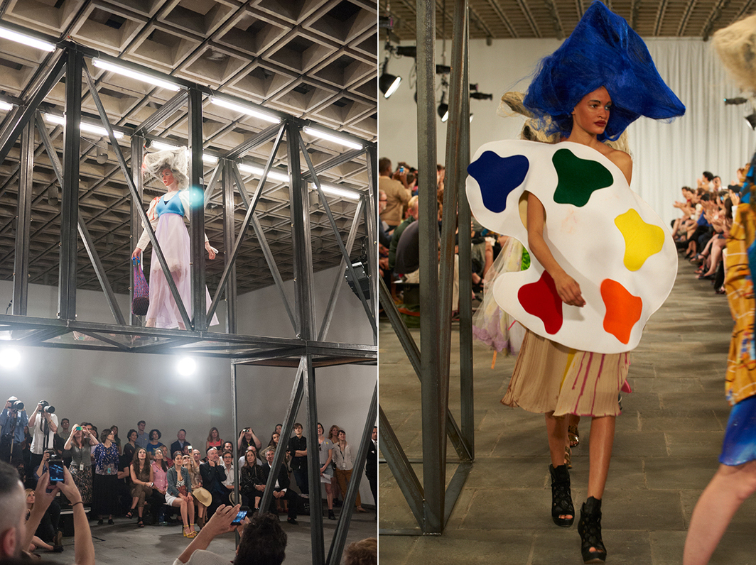 K8 Hardy, Untitled Runway Show, 2012. Performance view, Whitney Museum of American Art, New York, 2012. Left: Photo: Lutz Bacher. Right: Photo: Arnold Frugier.