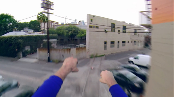 Sam Gorski and Niko Pueringer, Superman with a GoPro, 2015, digital video, color, sound, 2 minutes 53 seconds.