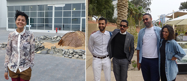 Left: Artist Mehreen Murtaza. Right: Artists Payam Sharifi, Nanu Al-Hamad, Khalid Al Gharaballi, and Tiffany Malakooti.