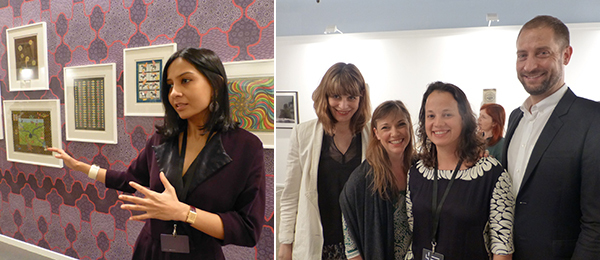 Left: Dealer Priya Jhaveri. Right: MoMA associate curator Ana Janevski, Garage Museum director Kate Fowle, curator Luiza Teixeira de Freitas, and MoMA chief curator of media and performance Stuart Comer.