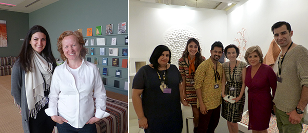 Left: Curators Bana Kattan and Maya Allison. Right: Artist Hadieh Shafie, dealer Suzy Sikorski, artist Noor Ali Chagani, curator Shiva Balaghi, dealer Leila Heller, and artist Kambiz Sharif.