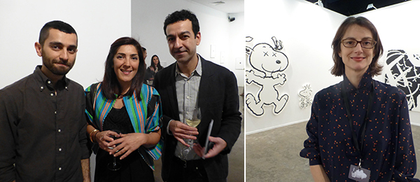 Left: Artist Abbas Akhavan, dealer Sunny Rahbar, and artist Kamrooz Aram. Right: Dealer Honor Fraser.