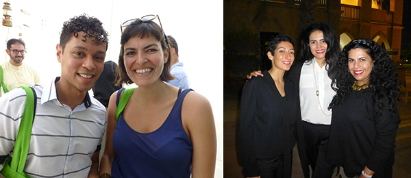 Left: Delfina Foundation's Aaron Cezar with artist Malak Helmy. Right: NYU Abu Dhabi professor May Al-Dabbagh, Al Anoud Al Sharekh, and artist Manal Al Dowayan.