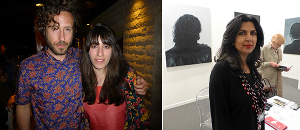 Left: Curator Aram Moyashedi and artist Ruanne Abou-Rahme. Right: Dealer Sameera Raja.