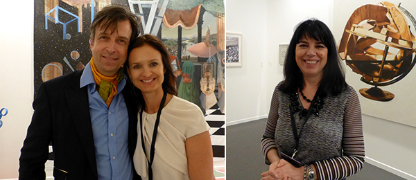 Left: Collector Alain Servais and dealer Isabelle van den Eynde. Right: Dealer Laura Bulian.