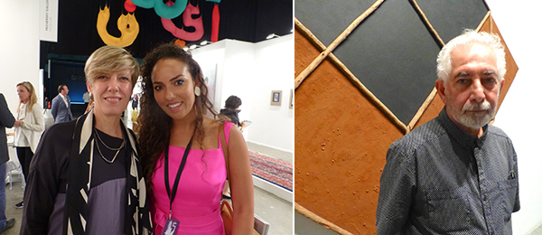 Left: Annette Schönholzer and collector Alia Al Senussi. Right: Artist Hossein Valamanesh.