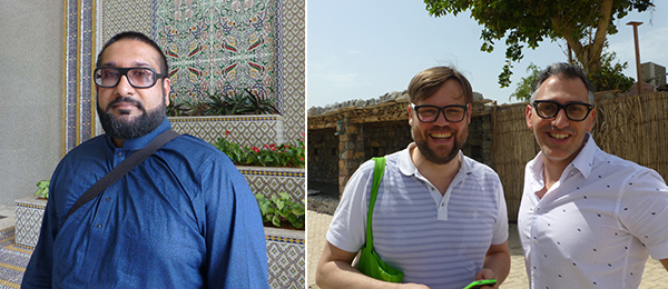 Left: Curator Murtaza Vali. Right: Curators Till Fellrath and Sam Bardaouil.