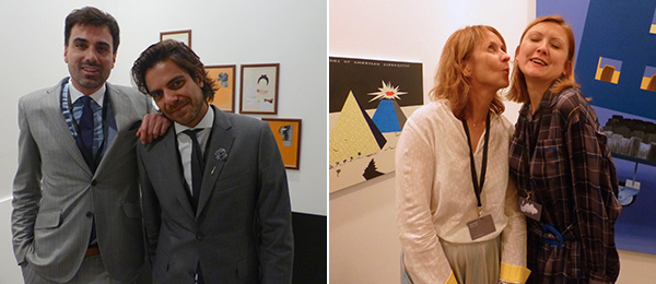 Left: Dealers Philippe Charpentier and Alex Mor. Right: Dealers Katya Iragui and Olga Temnikova.