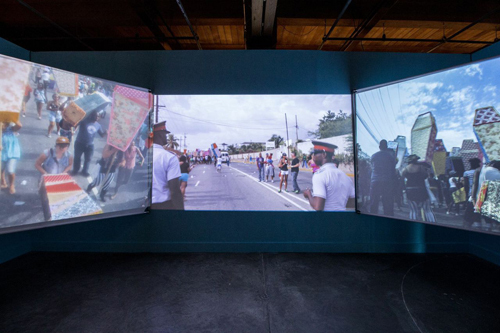 Ebony G. Patterson, Invisible Presence: Bling Memories, 2014, three-channel video installation, color, sound, 9 minutes 40 seconds.