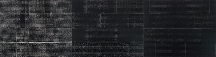 "Glenn Ligon, Come Out #4, 2014, triptych, silk screen on canvas, overall 7' 10"" × 29' 6""."