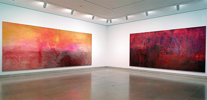 "View of ""Frank Bowling: Map Paintings,"" 2015, Dallas Museum of Art. From left: Texas Louise, 1971; Marcia H Travels, 1970."