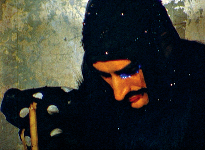 Still from Jack Smith's Hamlet in the Rented World (A Fragment), 1970–73, 16 mm, color, sound, 27 minutes. Hamlet (Jack Smith). © Jack Smith Archive.