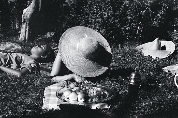 "Fouad Elkoury, The Picnic, 1979, ink-jet print, 15 3/4 × 25 5/8"". From the series ""Civil War,"" 1977–86."