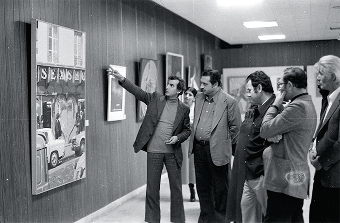 "Ezzedine Kalak and Palestine Liberation Organization officials at ""International Art Exhibition for Palestine,"" 1978, Beirut Arab University, March 21, 1978. Photo: Claude Lazar."