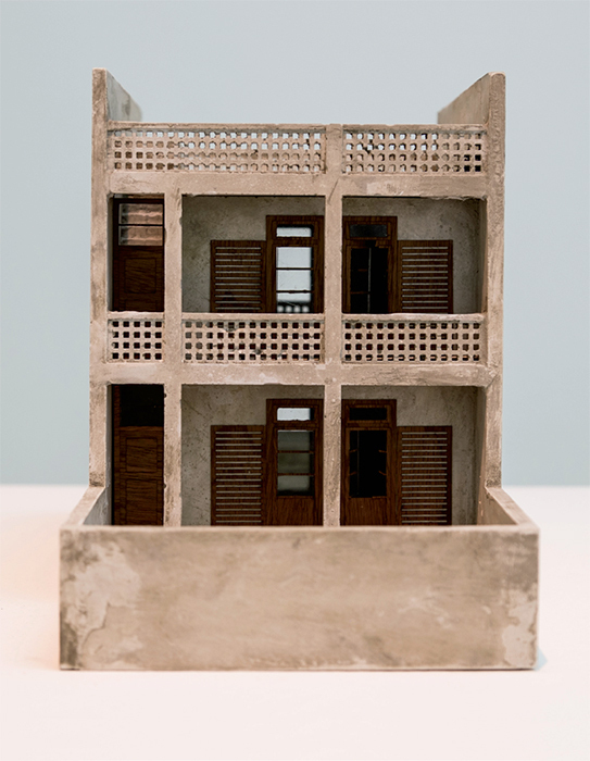Marwa Arsanios, After Doxiadis, a proposal for a new social housing project (detail), 2013–, concrete models, publication, sound, archival ink-jet prints, cardboard model, film, dimensions variable.