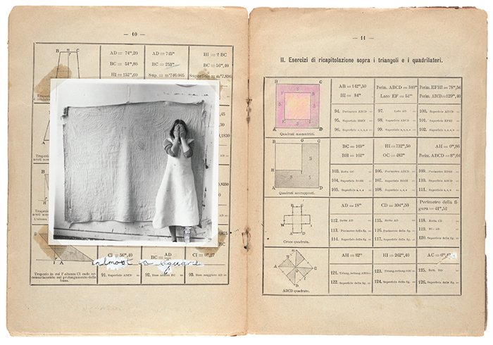 "Spread from Francesca Woodman's Some Disordered Interior Geometries, 1981, photolithographic prints on paper, 9 × 13""."