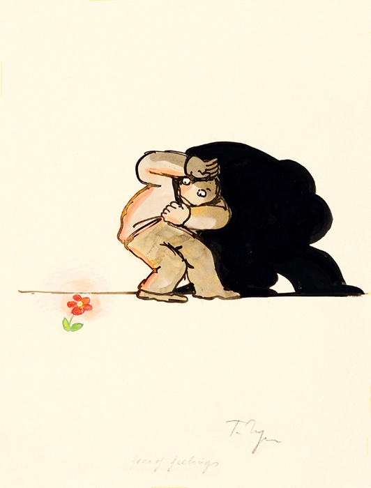 "Tomi Ungerer, Fear of Feelings, 1982, ink and colored pencil on tracing paper, 10 × 8""."