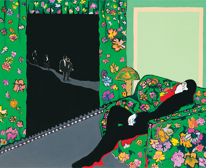 "Rosalyn Drexler, Night Visitors, 1988, oil on canvas, 24 × 30 1/8"". © Rosalyn Drexler/Artists Rights Society (ARS), New