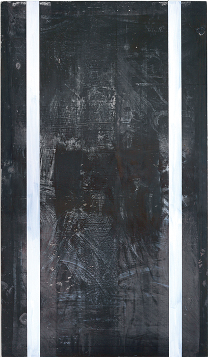 "Günther Förg, Untitled, 1990, acrylic on lead, 110 1/4 × 63"". Skarstedt."