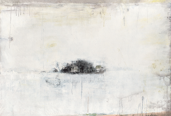"Yan Shanchun, Ruangong Islet #5, 2008, acrylic and ink on paper mounted on canvas, 39 1/2 × 59""."
