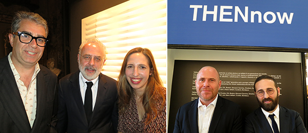 Left: Dealer Gió Marconi, curator Francesco Bonami, and dealer Alma Luxembourg. Right: Art Basel director Marc Spiegler with MiArt director Vincenzo De Bellis. (All photos: Cathryn Drake)
