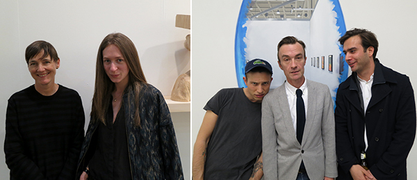 Left: Dealers Sadie Coles and Lieselotte Seaton. Right: Dealer Federico Vavassori, artist Oliver Payne, and curator Niels Olsen.