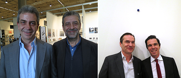 Left: Pierpaolo Forte, president of MADRE, and dealer Umberto Di Marino. Right: Dealers Michael Callies and Memmo Grilli.