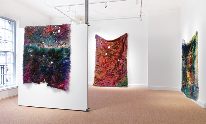 "View of ""Anna Betbeze,"" 2015. From left: Tangle, 2014; Sludge, 2014; Naples, 2014."